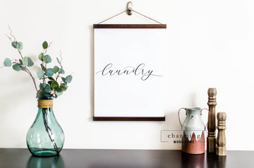 Laundry Hanging Canvas Sign - Charming Wood Home