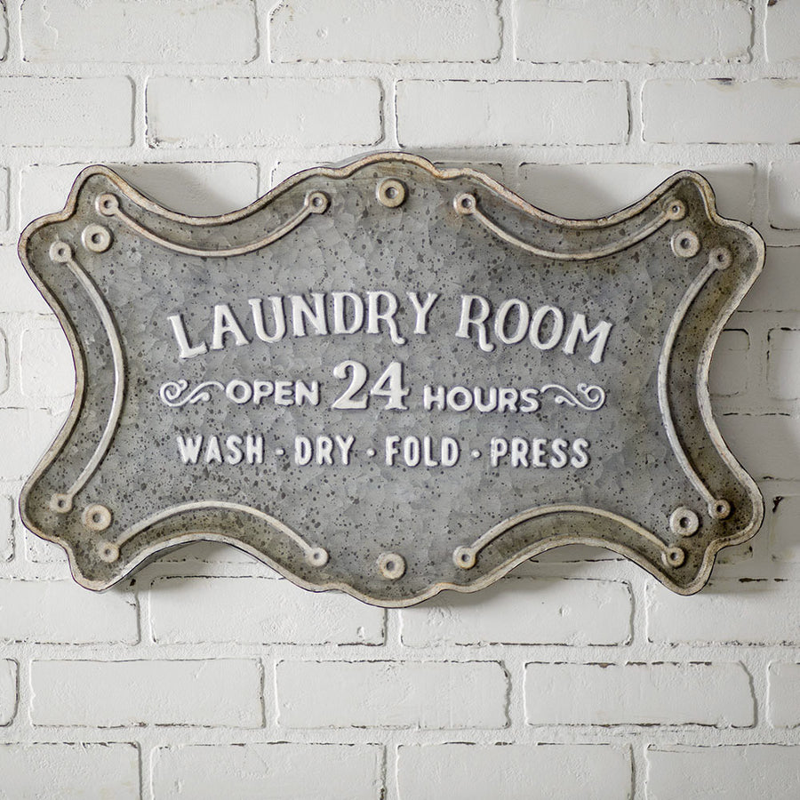 Laundry Room Metal Sign - Charming Wood Home