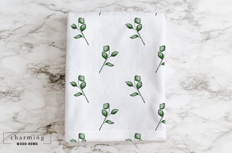 Leaf Watercolor Minky Blanket - Charming Wood Home