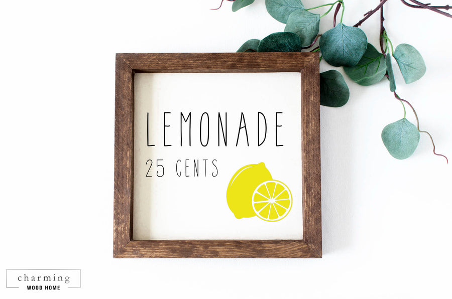 Lemonade 25 Cents Painted Wood Sign - Charming Wood Home