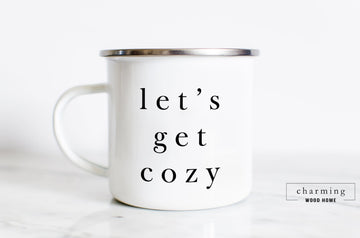 Let's Get Cozy Modern Camper Mug - Charming Wood Home