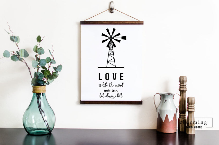 Love is Like the Wind Never Seen But Always Felt Hanging Canvas Sign - Charming Wood Home