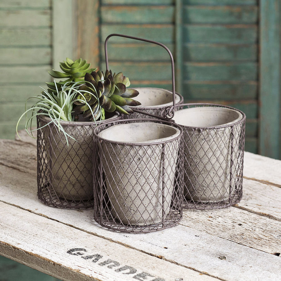 Medium Four Terra Cotta Pot Caddy - Charming Wood Home