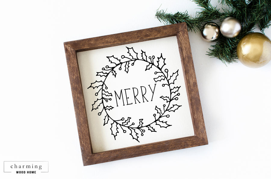 Merry with a Mistletoe Wreath Wood Sign - Charming Wood Home