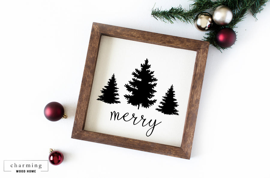 Merry With Pine Trees Wood Sign - Charming Wood Home