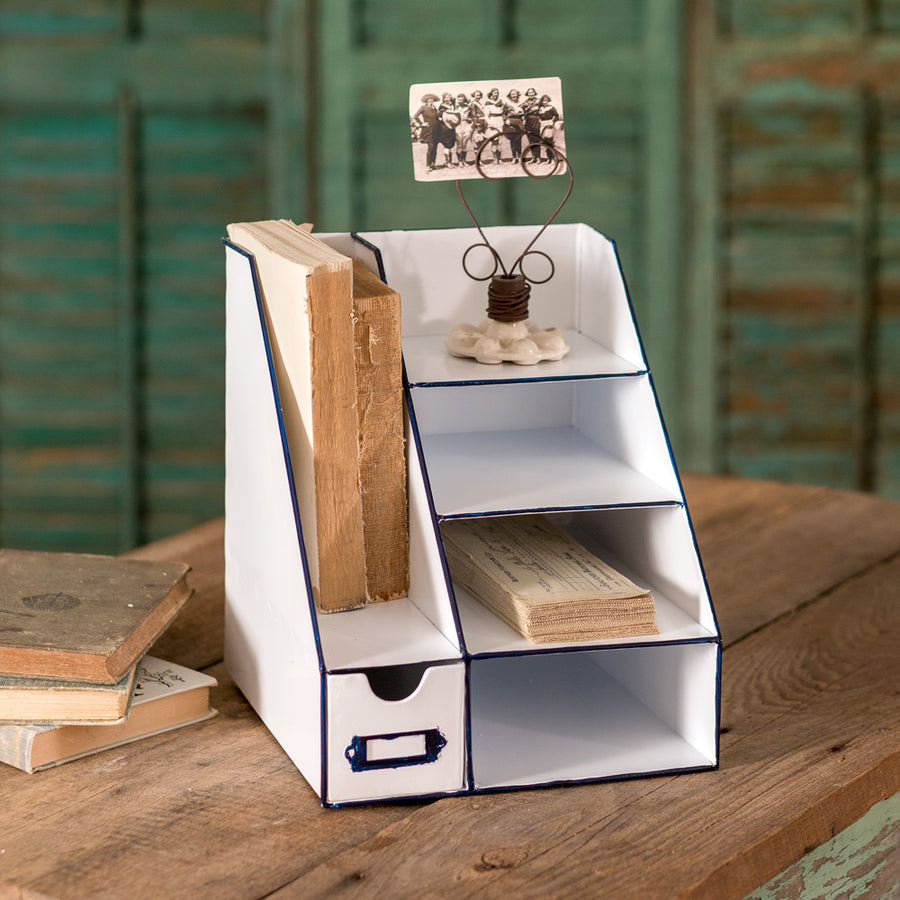 Metal Desk Organizer with Six Bins - Charming Wood Home