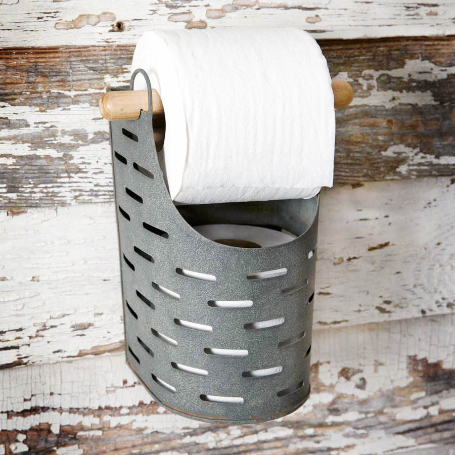 Olive Bucket Toilet Paper Holder - Charming Wood Home