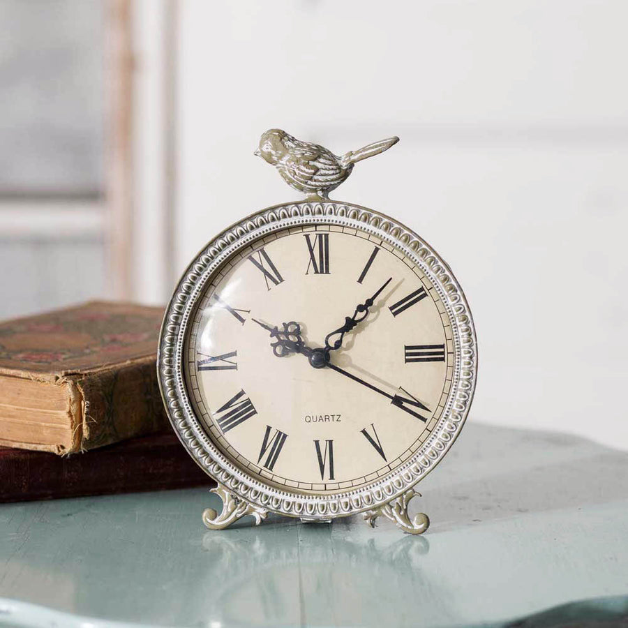 Perched Songbird Tabletop Clock - Charming Wood Home