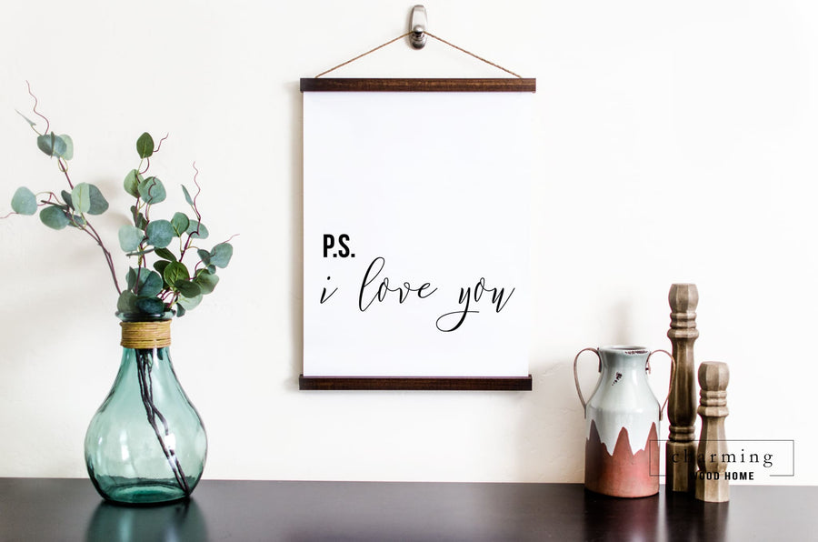 P.S. I Love You Hanging Canvas Sign - Charming Wood Home