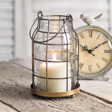 Quart Mason Jar Candle Cage - Antique Brass - Charming Wood Home
