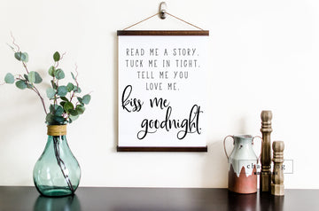 Read Me a Story Tuck Me In Tight Hanging Canvas Sign - Charming Wood Home