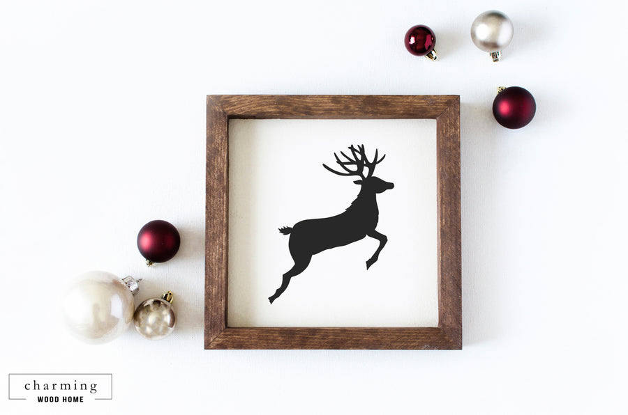 Reindeer Silhouette Wood Sign - Charming Wood Home