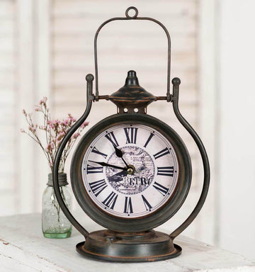 Retro Farmhouse Tabletop Clock - Charming Wood Home