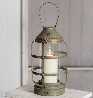 Ribbed Pillar Candle Lantern - Charming Wood Home