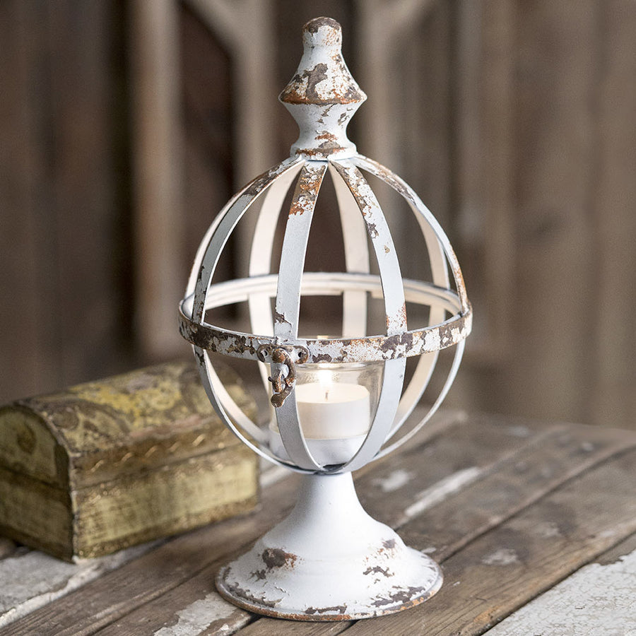 Rustic White Sphere Lantern - Charming Wood Home