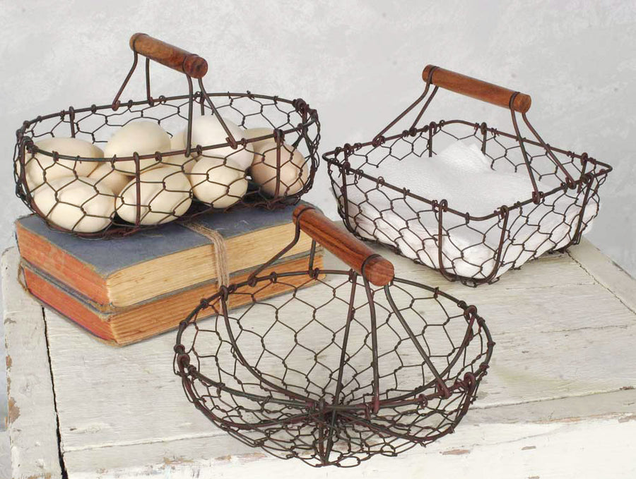 Set Of Three Chicken Wire Baskets - Charming Wood Home
