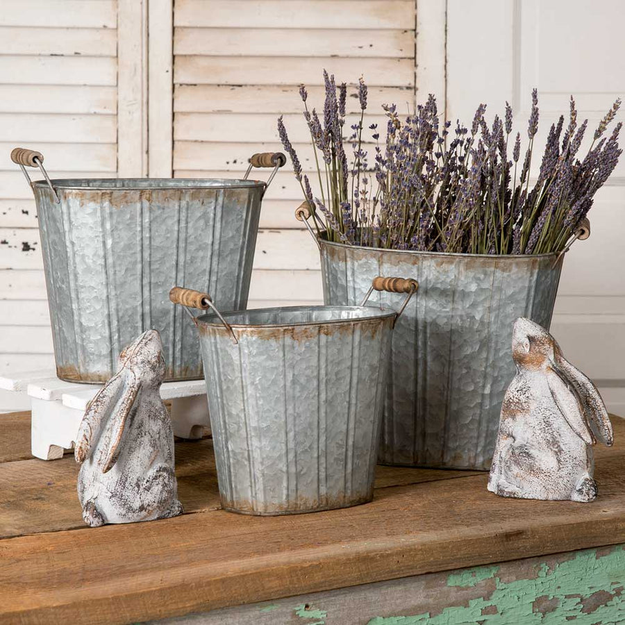 Set of Three Tapered Oval Pails with Wood Handles - Charming Wood Home