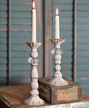 Set of Two Chrissy Taper Candle Holders - Charming Wood Home