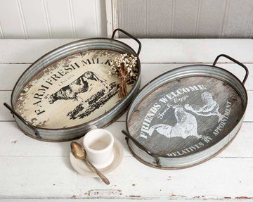 Set of Two Farmhouse Oval Serving Trays - Charming Wood Home