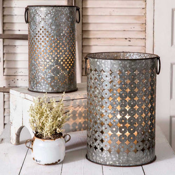 Set of Two Perforated Bins - Charming Wood Home
