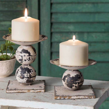Set of Two Spheres Pillar Candle Holders - Charming Wood Home