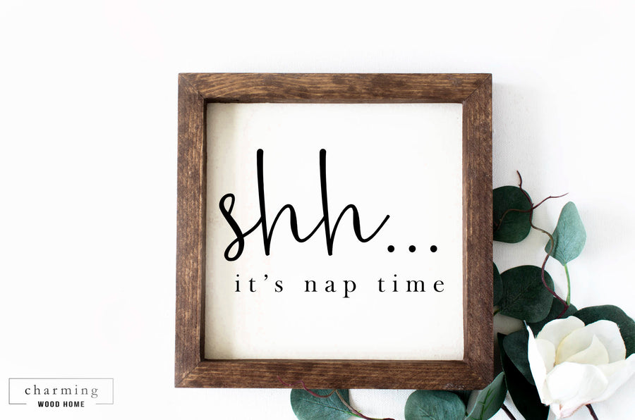 Shh It's Nap Time Painted Wood Sign - Charming Wood Home