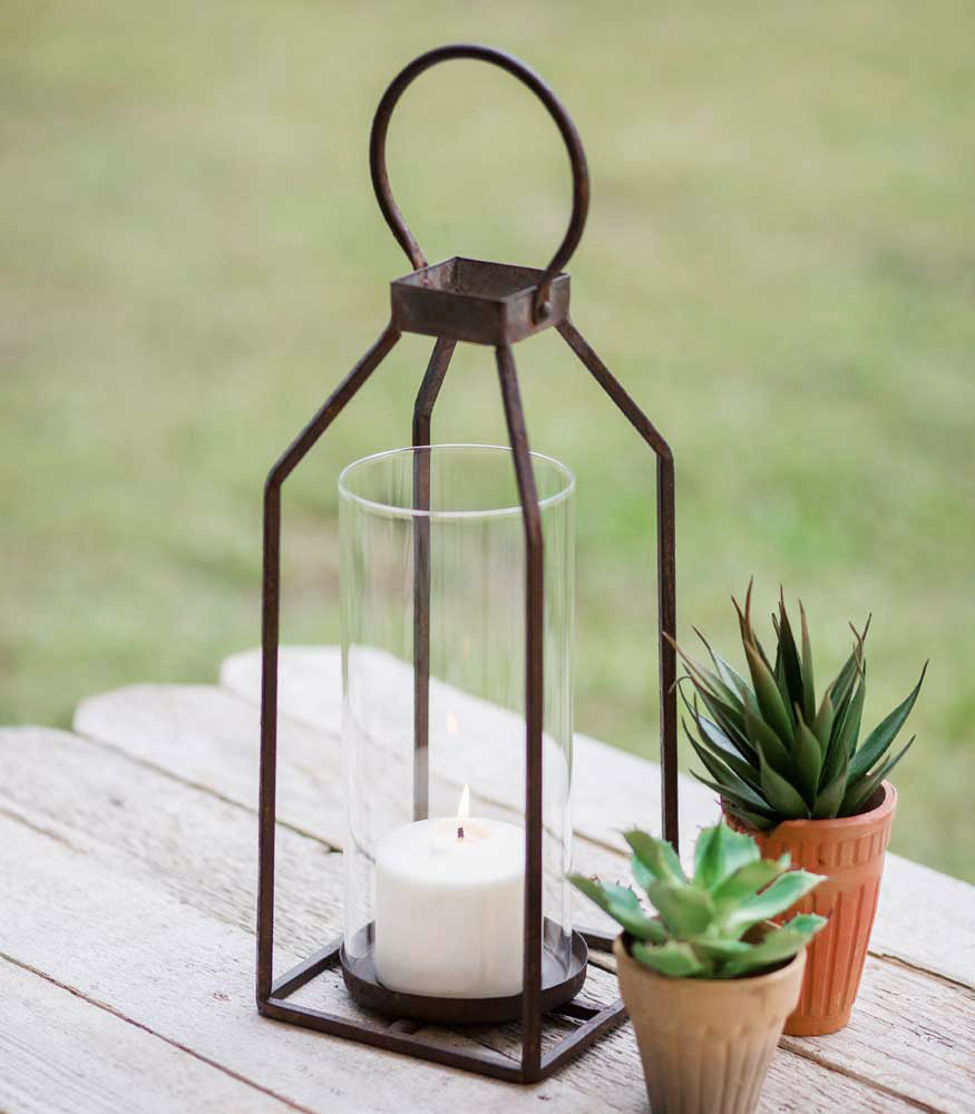 Small Greenville Pillar Candle Lantern - Charming Wood Home