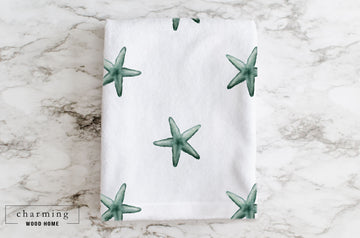 Starfish Watercolor Minky Blanket - Charming Wood Home