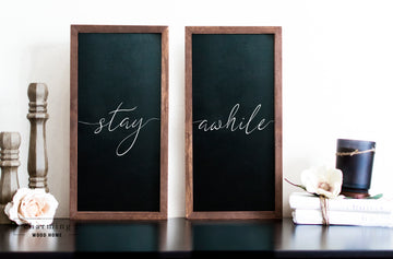Stay Awhile Set of Two Wood Sign Duo - Charming Wood Home