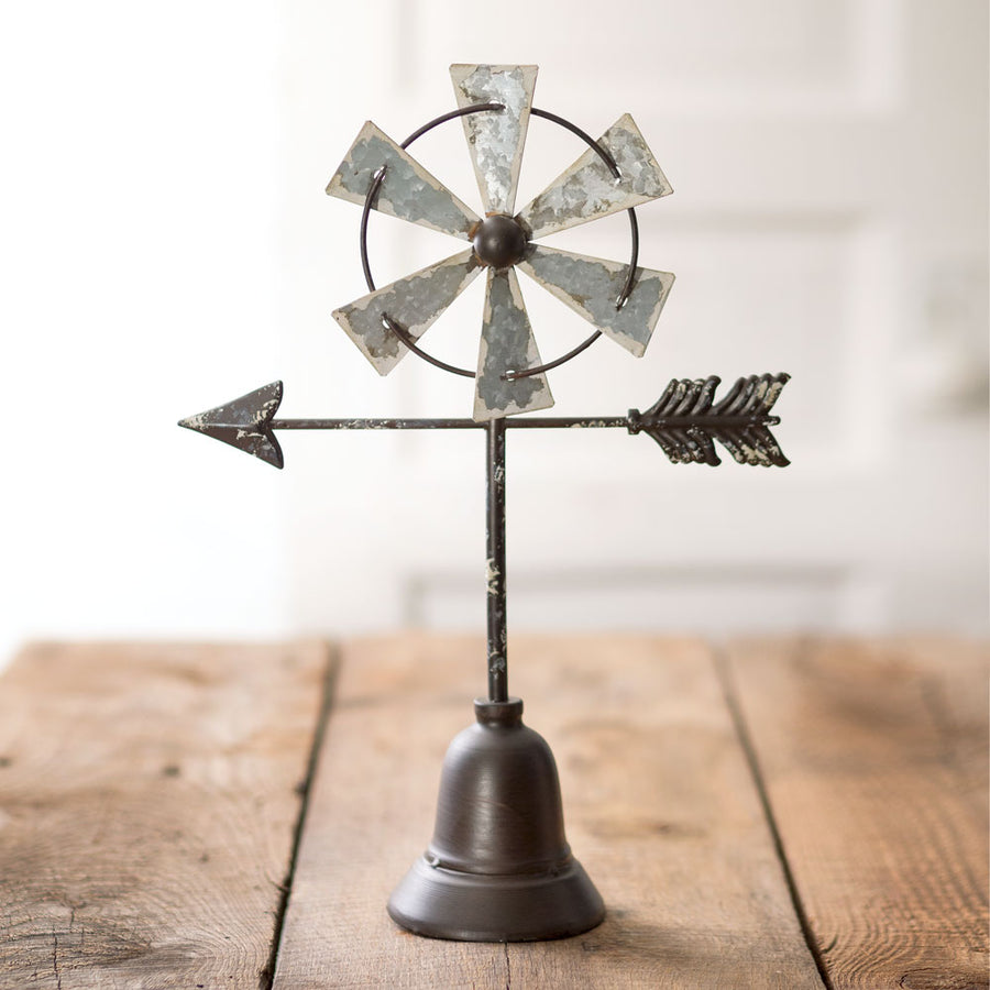 Table Top Windmill with Arrow - Charming Wood Home