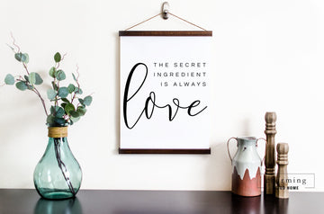 Secret Ingredient is Always Love Hanging Canvas Sign - Charming Wood Home