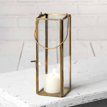 Thin Hayworth Lantern - Antique Brass - Charming Wood Home