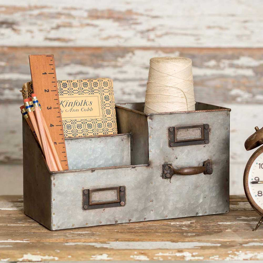Three Bin Desk Organizer - Charming Wood Home