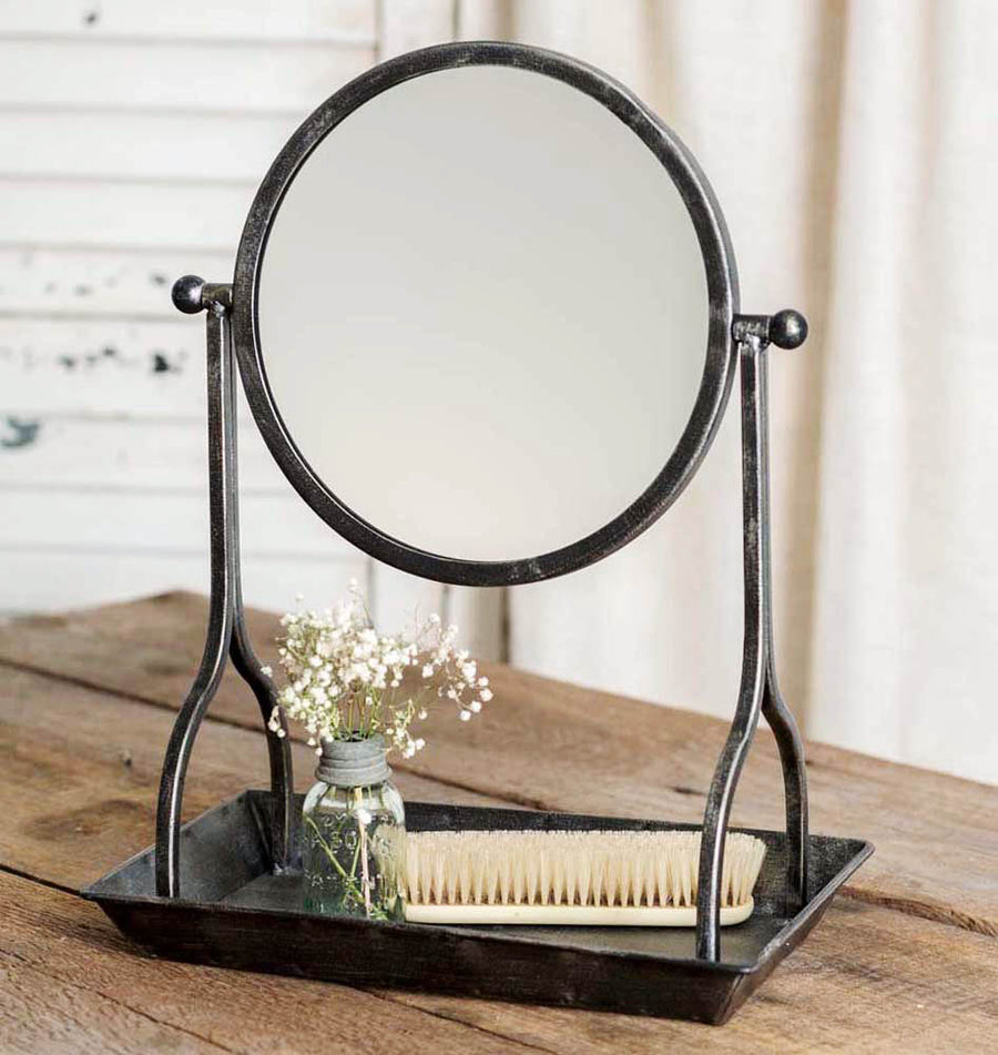 Vanity Tray and Round Mirror - Charming Wood Home