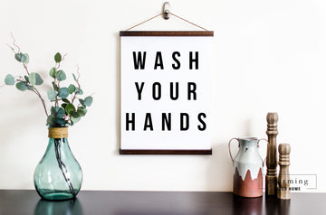 Wash Your Hands Modern Hanging Canvas Sign - Charming Wood Home
