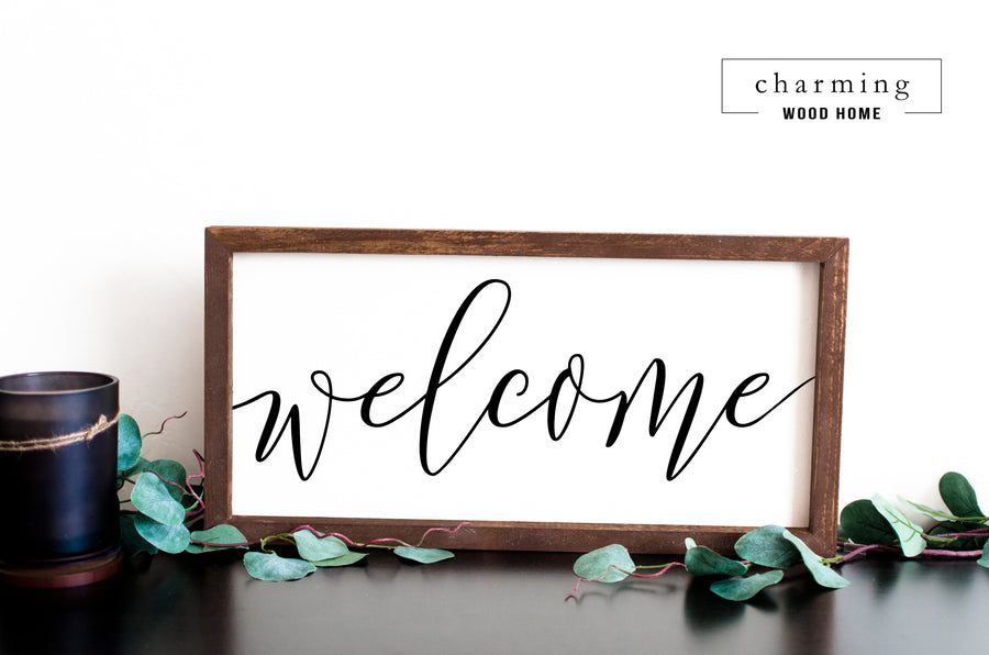 Welcome Wood Sign - Charming Wood Home