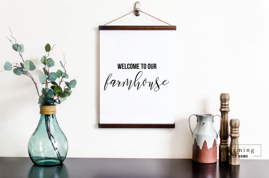 Welcome to Our Farmhouse Hanging Canvas Sign - Charming Wood Home