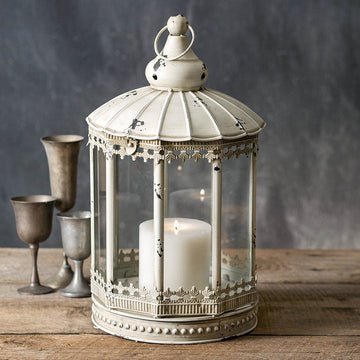 White Augustine Lantern - Charming Wood Home