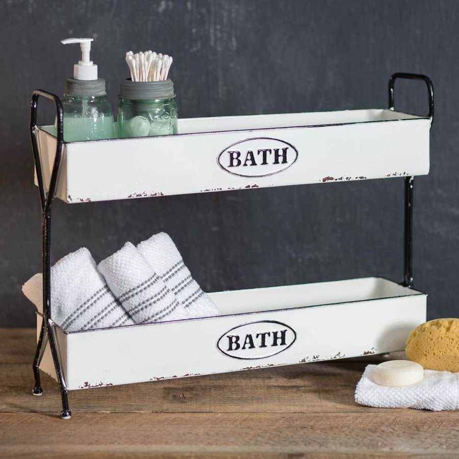 White Two-Tier Bath Caddy - Charming Wood Home