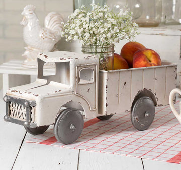 White Truck Planter - Charming Wood Home