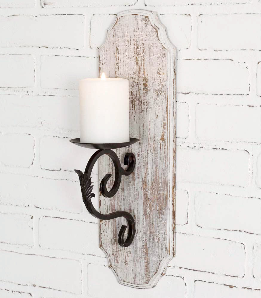 White Wood Pillar Candle Sconce - Charming Wood Home