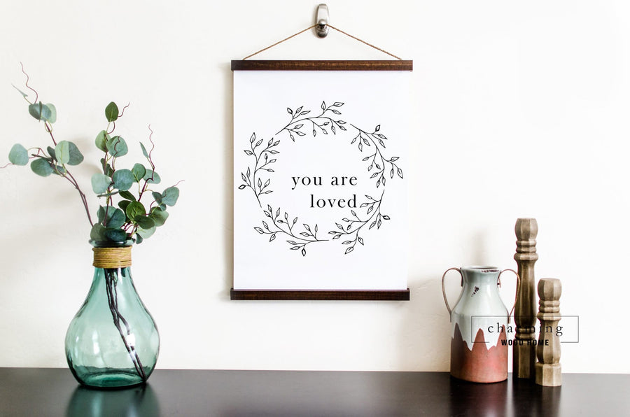 You Are Loved Wreath Hanging Canvas Sign - Charming Wood Home