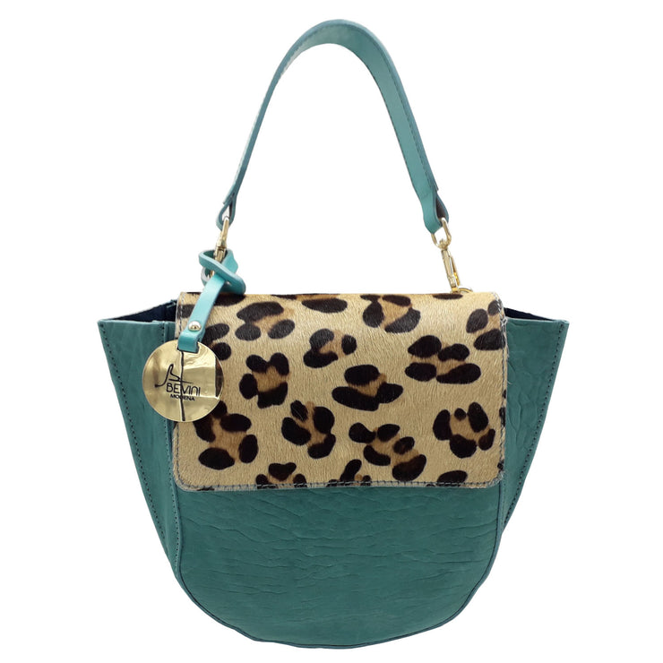 Sole Leather Bag with Leopard trim (12004M5)