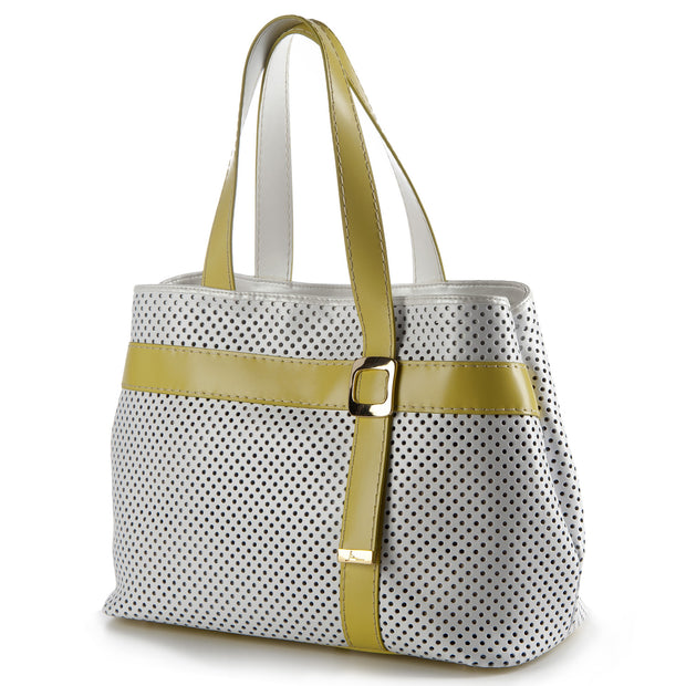 Soave Perforated Large Leather Tote Bag (17144M4)