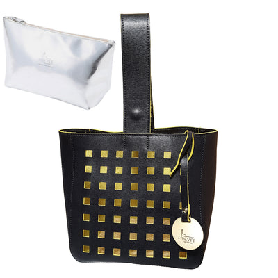 Perforated Saffiano Dual Leather bucket bag (Style 18010)