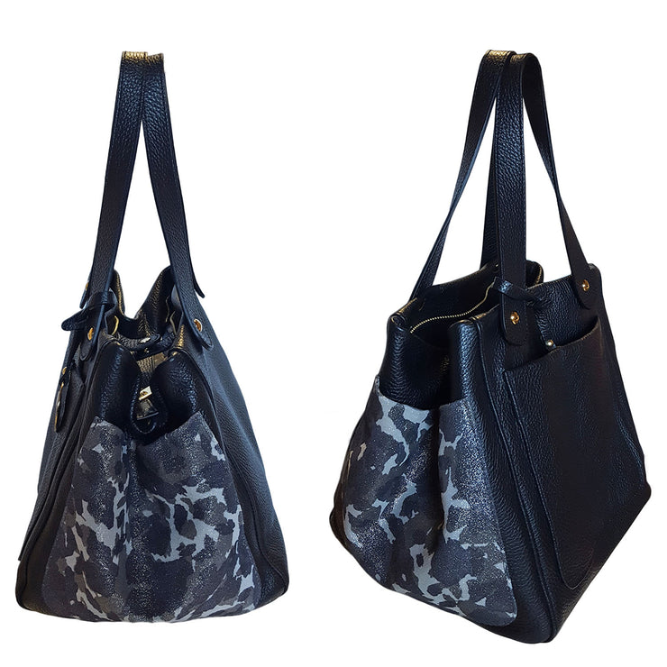 Three pockets Dollaro Leather & Suede Tote (18012MX)