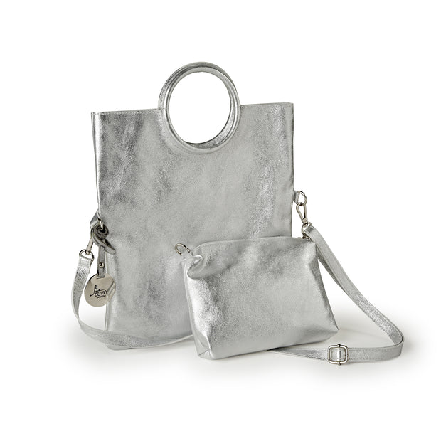 Suede Metallic Laminated Leather Handbag (B247)