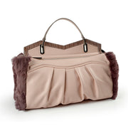 ONE & ONLY Sauvage soft Leather & Rex Fur Trim Tote (27002M2)