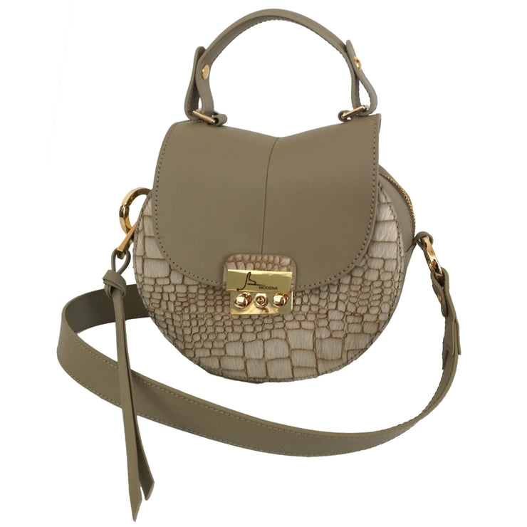Ruga Leather & Croc Calf-Hair Shoulder Circle Bag (27009M8)