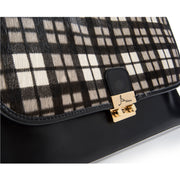 ONE & ONLY Soave Leather with Plaid pattern HairCalf Clutch (28004M4)